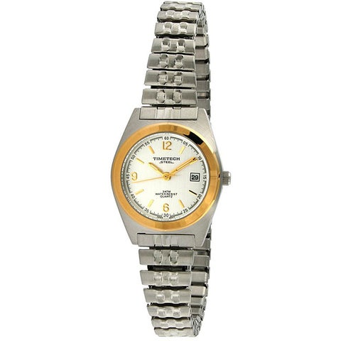 Timetech Women's Water-Resistant Two-Tone Stainless-Steel Expansion Watch