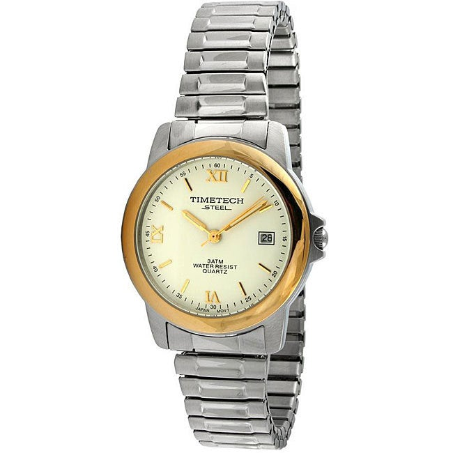 Timetech Men's Two-tone Stainless Steel Expansion Watch, ...
