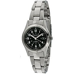 Timetech Women's Black Dial Round Stainless Steel Watch