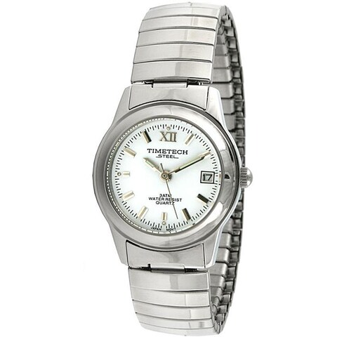 Timetech Women's White Dial Stainless Steel Expansion Watch