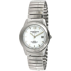 Timetech Men's White Dial Stainless Steel Expansion Watch