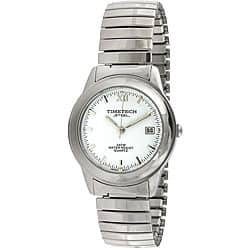 Timetech Men's White Dial Stainless Steel Expansion Watch|https://ak1.ostkcdn.com/images/products/4427203/Timetech-Mens-White-Dial-Stainless-Steel-Expansion-Watch-P12384465.jpg?impolicy=medium