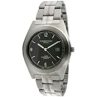 Timetech Men's Grey Dial Round Stainless Steel Watch