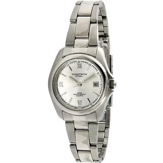 Timetech Women's Silver Dial Round Stainless Steel Watch