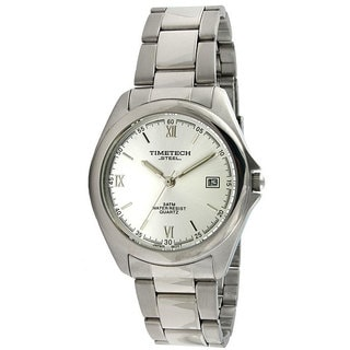 Timetech Men's Silver Dial Round Stainless Steel Watch