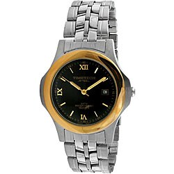 Timetech Men's Black Dial Two-tone Stainless Steel Watch