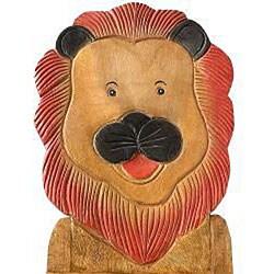 Handmade Acacia Wood Kids' Lion Design Chair (Thailand)