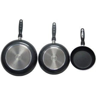 Gourmet Chef Stainless Steel Aluminum Professional Heavy Duty Nonstick Fry Pans (Set of 3) (Option: Black)