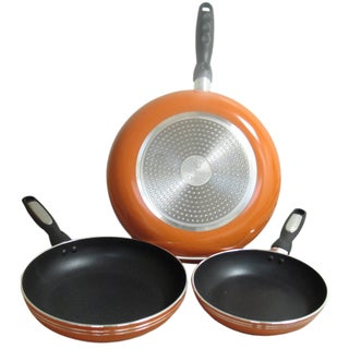 Gourmet Chef Stainless Steel Aluminum Professional Heavy Duty Nonstick Fry Pans (Set of 3) (Option: Orange)