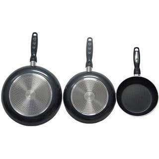 Gourmet Chef Stainless Steel Aluminum Professional Heavy Duty Nonstick Fry Pans (Set of 3)