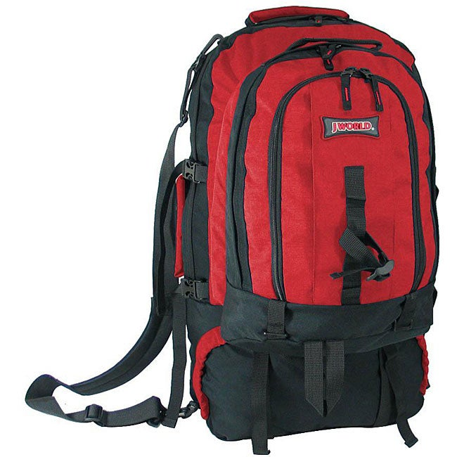 J World 'Stonecrest' Red 65L Climbing Pack with Detachable Backpack