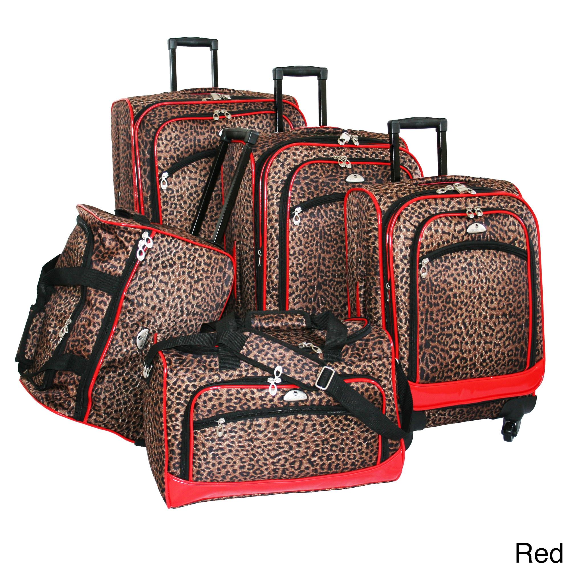 American Flyer Pink Zebra Print 5-piece Spinner Luggage S...