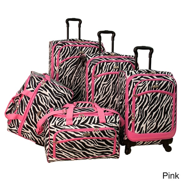 American Flyer Pink Zebra Print 5-piece Spinner Luggage Set