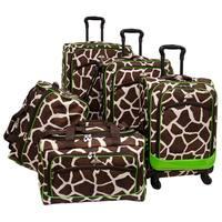 American Flyer Giraffe Green Giraffe Print 5-piece Spinner Luggage Set