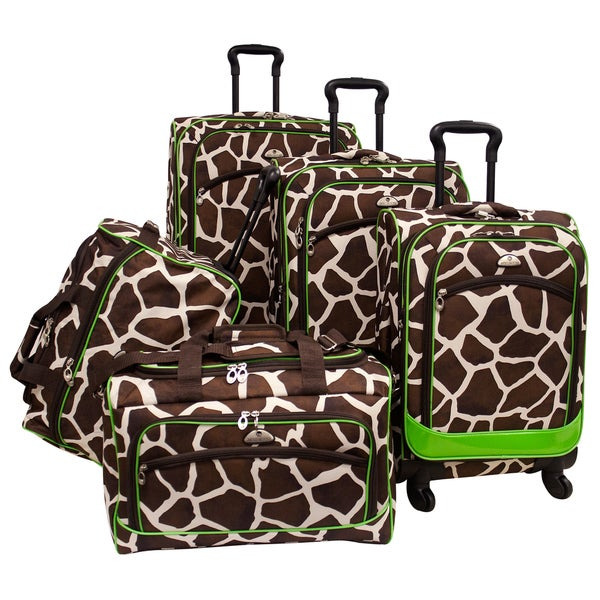 American Flyer Giraffe Green Giraffe Print 5-piece Spinner Luggage Set