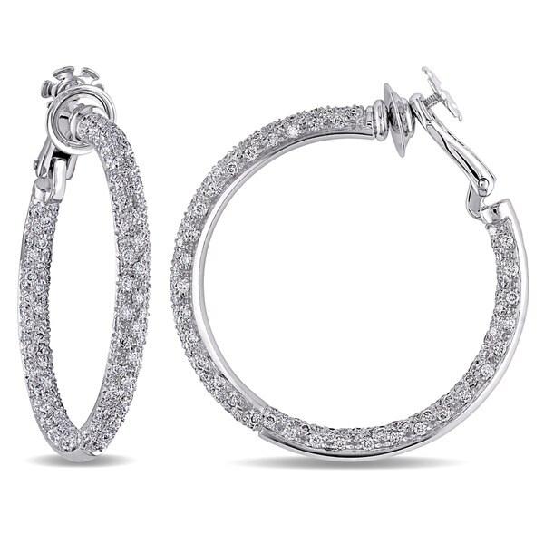 Miadora Signature Collection 18k Gold 3 3/4ct TDW Diamond Hoop Earrings