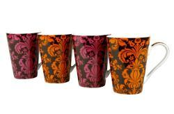 Konitz 'Rocaille' Orange/ Pink 13-ounce Mugs (Set of 4) - Thumbnail 1