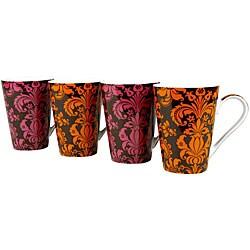 Konitz 'Rocaille' Orange/ Pink 13-ounce Mugs (Set of 4)