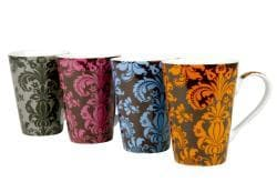 Konitz 'Rocaille' 13-oz Assorted Color Mugs (Set of 4) - Thumbnail 1