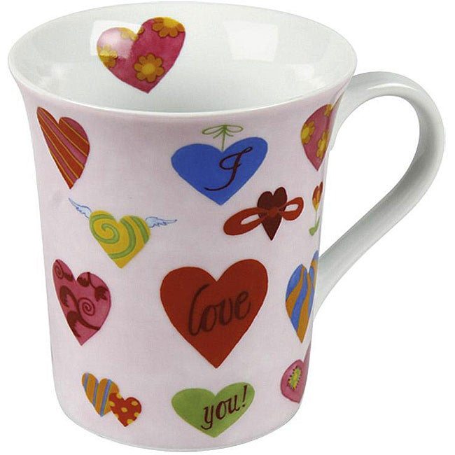 Konitz 'I Love You' White Scratch Mugs (Set of 2)