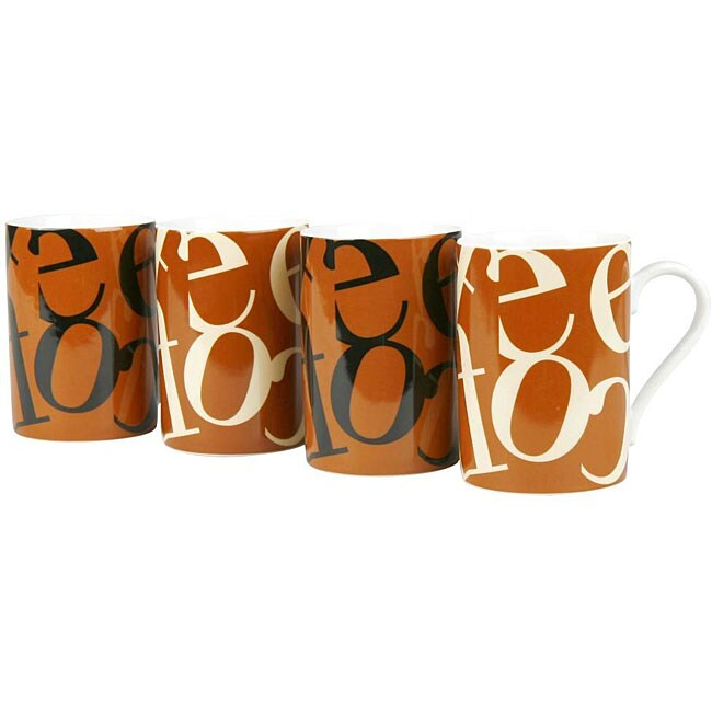 Konitz Script Collage Assorted Designs 10-ounce Mugs (Set of 4)