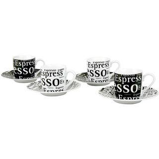 Konitz 'Espresso Writing' 3-oz Cups and Saucers (Set of 4)|https://ak1.ostkcdn.com/images/products/4427610/P12384795.jpg?impolicy=medium
