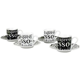 Konitz 'Espresso Writing' 3-oz Cups and Saucers (Set of 4)