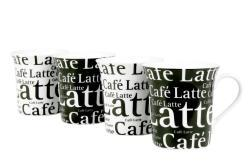 Konitz 'Cafe Latte Writing' Black/ White 12-ounce Cups (Set of 4) - Thumbnail 1