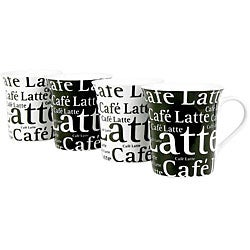 Konitz 'Cafe Latte Writing' Black/ White 12-ounce Cups (Set of 4)