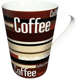 Konitz 'Coffee Stripes' Brown 13-oz Mugs (Set of 2)
