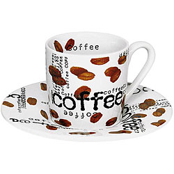 Konitz 'Coffee Collage' 3-oz White Espresso Cups (Set of 4)