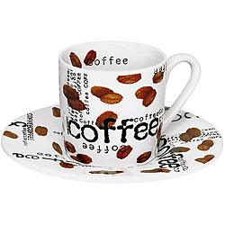 Konitz 'Coffee Collage' 3-oz White Espresso Cups (Set of 4) - Thumbnail 0