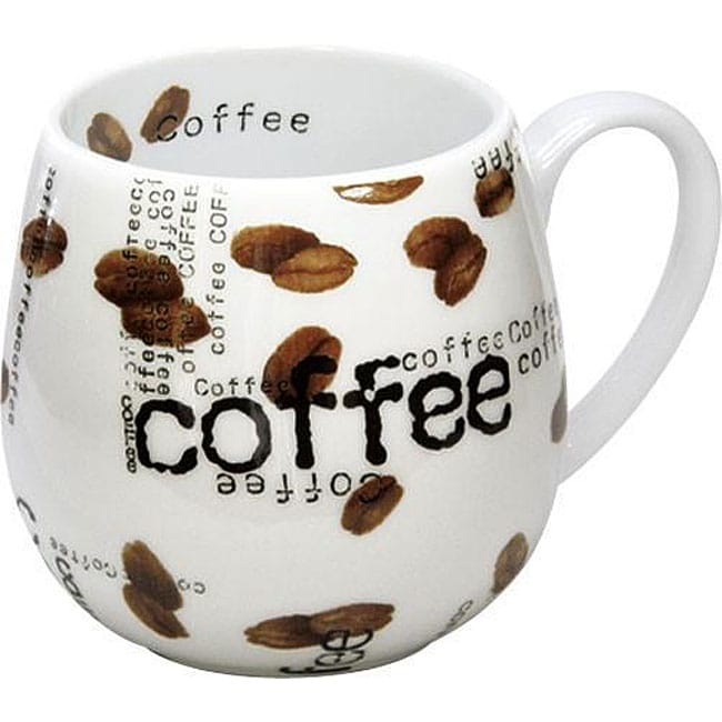Konitz 'Coffee Collage Snuggle' 14-oz White Mugs (Set of 2)