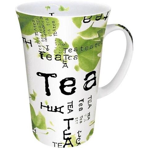 Konitz Tea Collage White/ Green 10-oz Mugs (Set of 4)