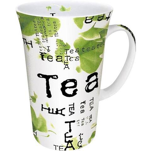 Konitz Tea Collage White/ Green 10-oz Mugs (Set of 4)
