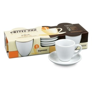 Konitz Coffee Bar 'Espresso' 2-oz White Cups/ Saucers (Set of 4)