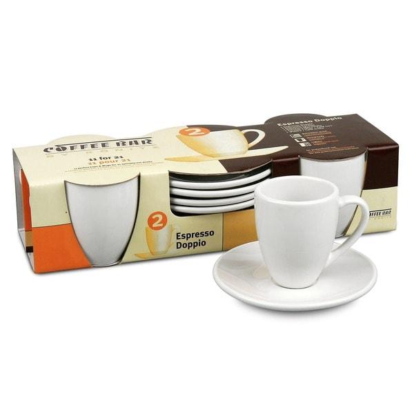 Konitz Coffee Bar 'Espresso Doppio' 3-oz White Cups/ Saucers (Set of 4)