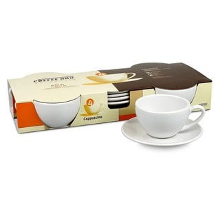 Konitz Coffee Bar 'Cappuccino' 6-oz White Cups and Saucers (Set of 4)