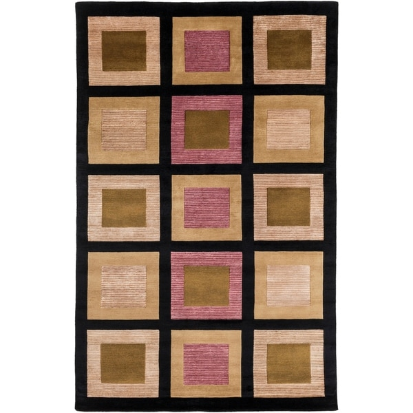 Hand-knotted Contemporary Brown/Black Geometric Bodo New Zealand Wool Area Rug - 5' x 8'