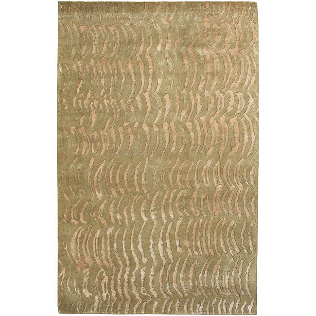 Hand-knotted Olive Royal Abstract Design Wool Area Rug (8' x 11') - 8' x 11'