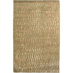 Hand-knotted Olive Royal Abstract Design Wool Area Rug - 8' x 11' - Thumbnail 0