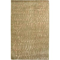 Hand-knotted Olive Royal Abstract Design Wool Area Rug - 8' X 11'