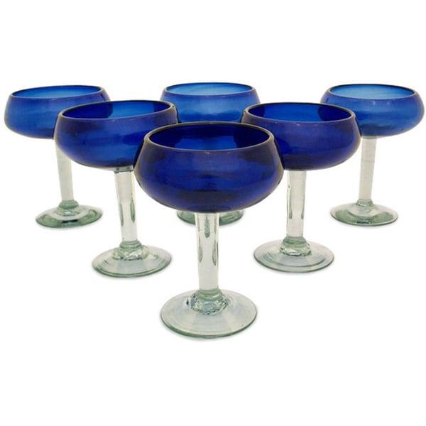 Set of 6 'Deep Blue' Margarita Glasses (Mexico)