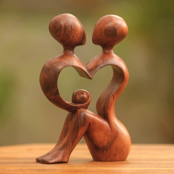 'A Heart Shared by Two' Wood Sculpture (Indonesia)