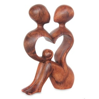 Handmade 'A Heart Shared by Two' Wood Sculpture (Indonesia)