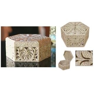 Handmade Wings Soapstone Jewelry Box (India)