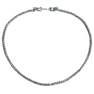 Handmade Sterling Silver Chain Dragon Protection Mens Necklace (Thailand)