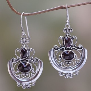 Arabesques Handmade Women's Clothing Accessory Sterling Silver Red Garnet Gemstone Jewelry Dangle Drop Earrings (Indonesia)