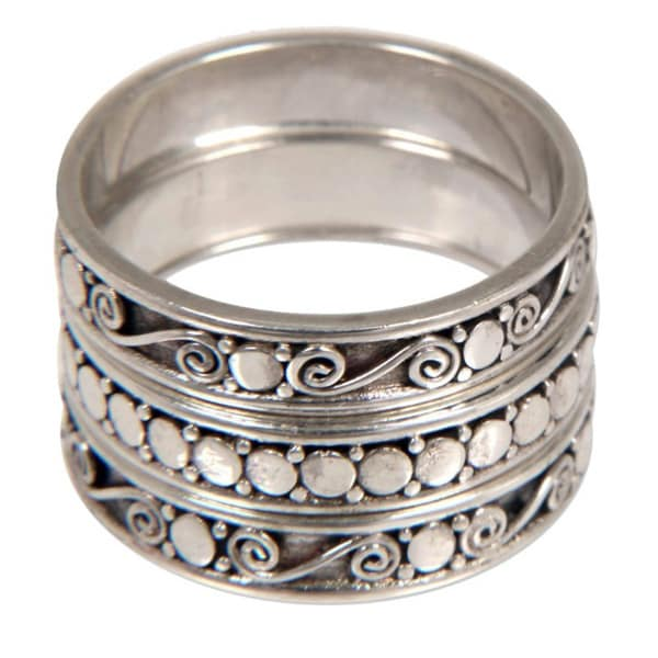 Go Together Set of 3 Artisan Handmade Traditional Balinese 925 Sterling Silver Band Stacking Ring (Indonesia)