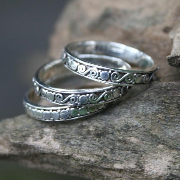 Go Together Set of 3 Artisan Handcrafted Traditional Balinese 925 Sterling Silver Band Stacking Rings (Indonesia)